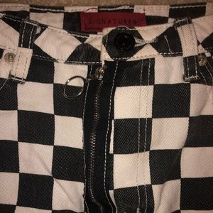 LF Skirts - Checkered denim skirt